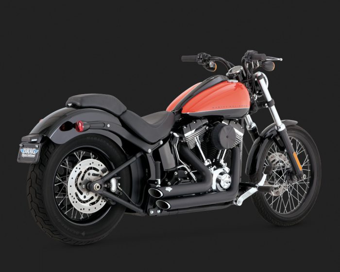 Short Shot Staggered - Softail Black